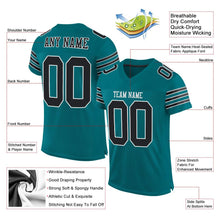 Load image into Gallery viewer, Custom Teal Black-White Mesh Authentic Football Jersey