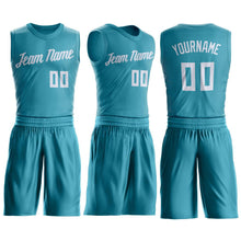 Load image into Gallery viewer, Custom Teal White Round Neck Suit Basketball Jersey