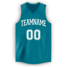 Load image into Gallery viewer, Custom Teal White V-Neck Basketball Jersey