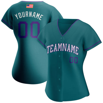 Custom Teal Purple-White Authentic American Flag Fashion Baseball Jersey