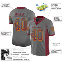 Load image into Gallery viewer, Custom Gray Burgundy-Gold Mesh Drift Fashion Football Jersey
