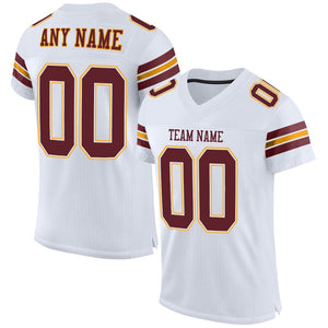 Custom White Burgundy-Gold Mesh Authentic Football Jersey