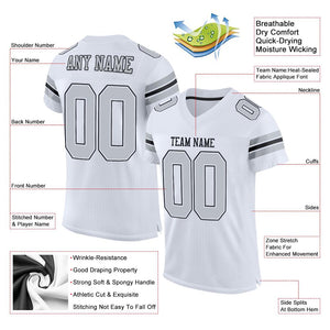 Custom White Silver-Black Mesh Authentic Football Jersey