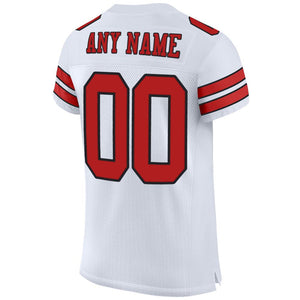 Custom White Scarlet-Black Mesh Authentic Football Jersey