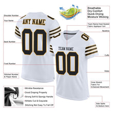 Load image into Gallery viewer, Custom White Black-Gold Mesh Authentic Football Jersey