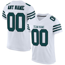 Load image into Gallery viewer, Custom White Midnight Green-Black Mesh Authentic Football Jersey