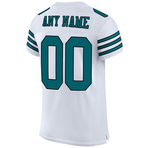 Custom White Teal-Black Mesh Authentic Football Jersey