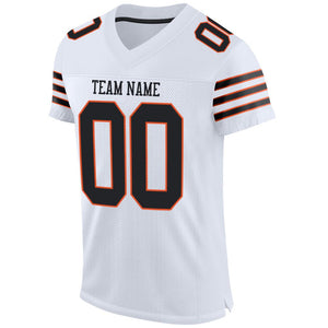 Custom White Black-Orange Mesh Authentic Football Jersey