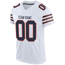 Load image into Gallery viewer, Custom White Navy-Orange Mesh Authentic Football Jersey