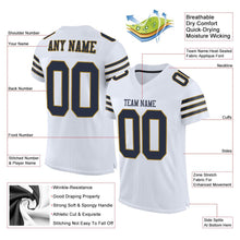 Load image into Gallery viewer, Custom White Navy-Old Gold Mesh Authentic Football Jersey