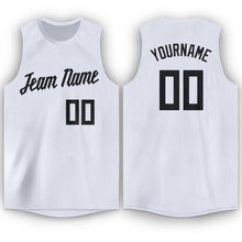 Load image into Gallery viewer, Custom White Black Round Neck Basketball Jersey