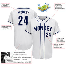 Load image into Gallery viewer, Custom White Navy Authentic Baseball Jersey