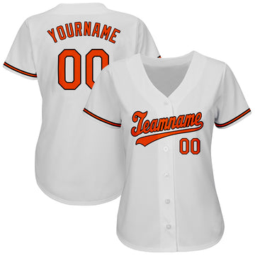Custom White Orange-Black Authentic Baseball Jersey