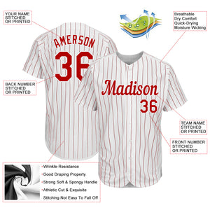 Custom White Red Strip Red-White Authentic Baseball Jersey