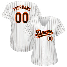 Load image into Gallery viewer, Custom White Brown Strip Brown-Orange Authentic Baseball Jersey