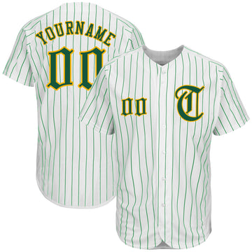 Custom White Kelly Green Strip Kelly Green-Gold Authentic Baseball Jersey