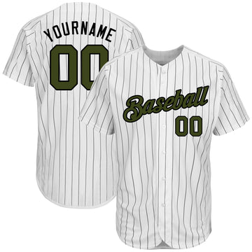 Custom White Black Strip Olive-Black Authentic Memorial Day Baseball Jersey