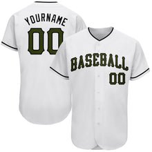 Load image into Gallery viewer, Custom White Olive-Black Authentic Memorial Day Baseball Jersey