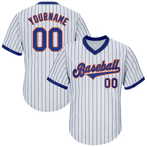 Custom White Royal Strip Royal-Orange Authentic Throwback Rib-Knit Baseball Jersey Shirt