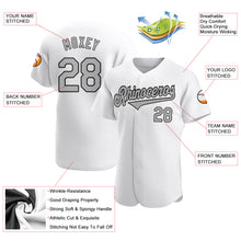 Load image into Gallery viewer, Custom White Gray-Black Authentic Baseball Jersey