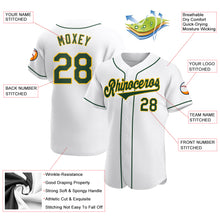 Load image into Gallery viewer, Custom White Green-Gold Authentic Baseball Jersey