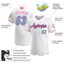 Load image into Gallery viewer, Custom White Light Blue-Pink Authentic American Flag Fashion Baseball Jersey