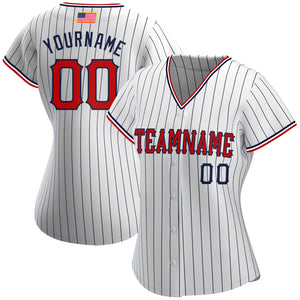 Custom White Navy Strip Red-Navy Authentic American Flag Fashion Baseball Jersey