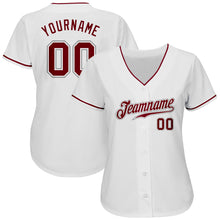 Load image into Gallery viewer, Custom White Crimson-Gray Authentic Baseball Jersey