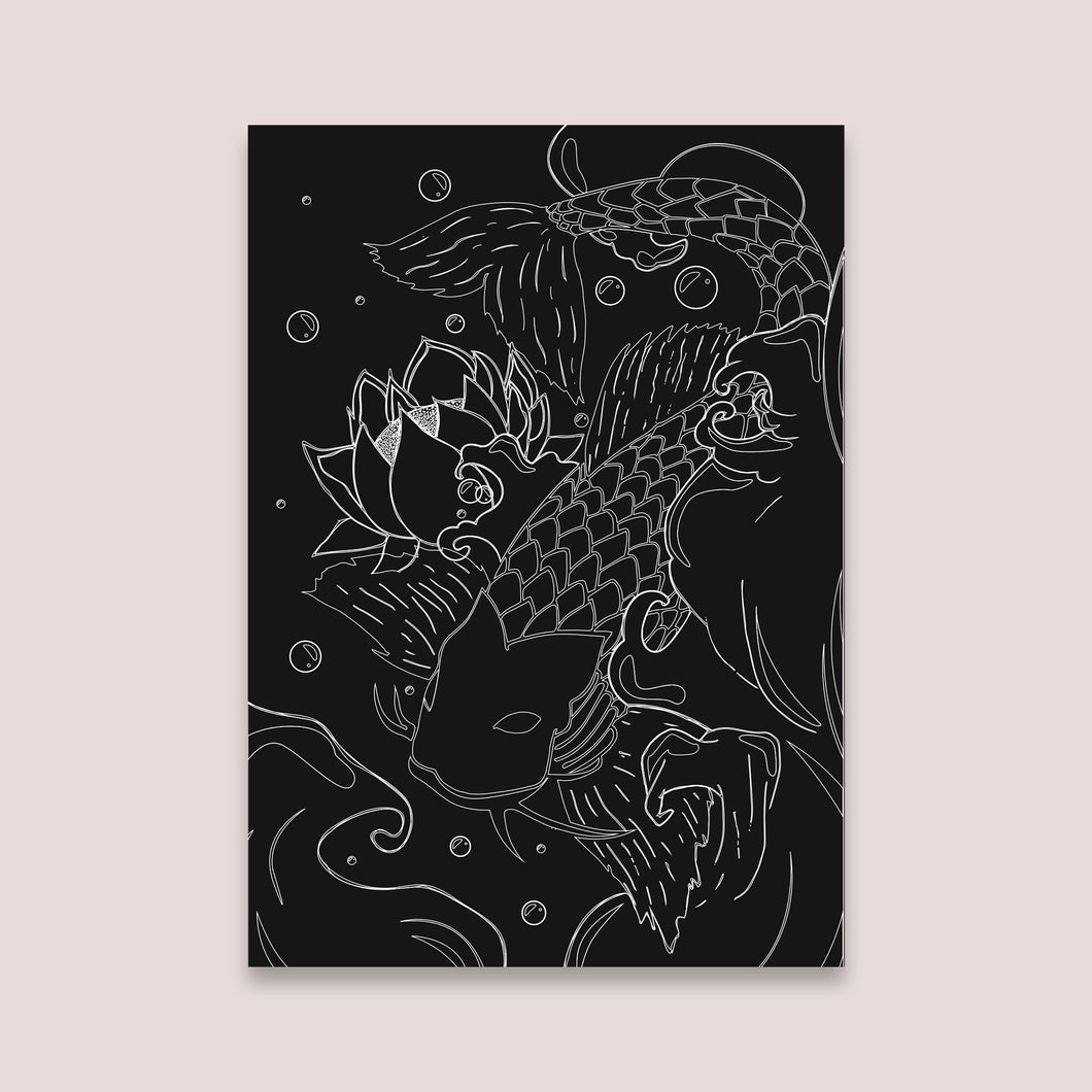 koi fish Japanese wall art decor poster