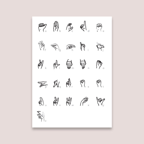 American sign language digital poster print