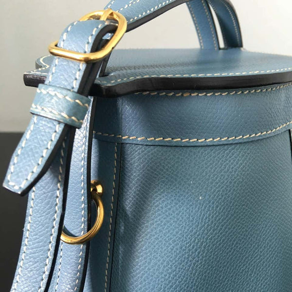 Hermes Spectacular 2005 Sac Farming Blue Jean Veau Epsom Leather Bag