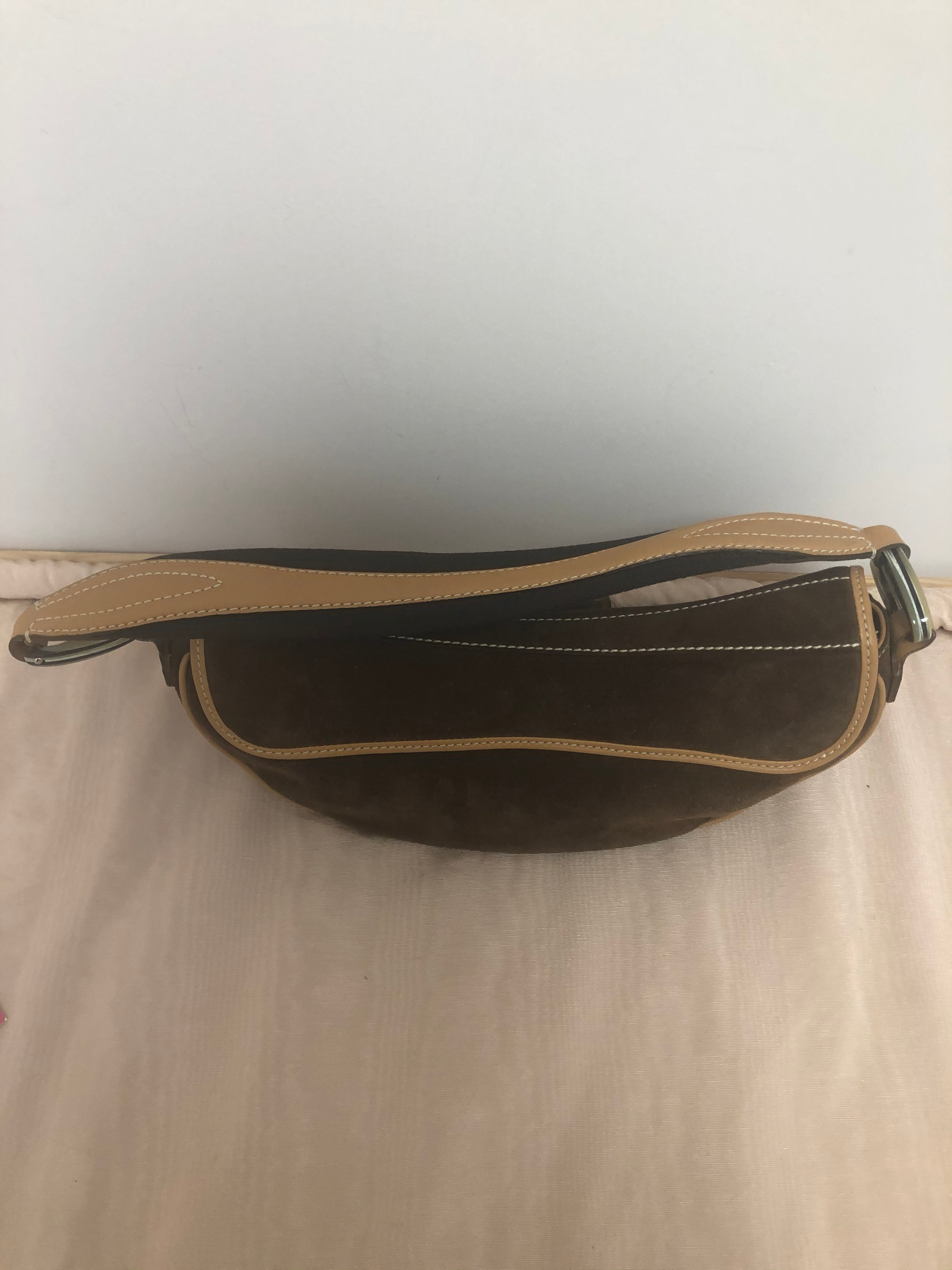 Tod's Dark Brown Suede/Leather Baguette