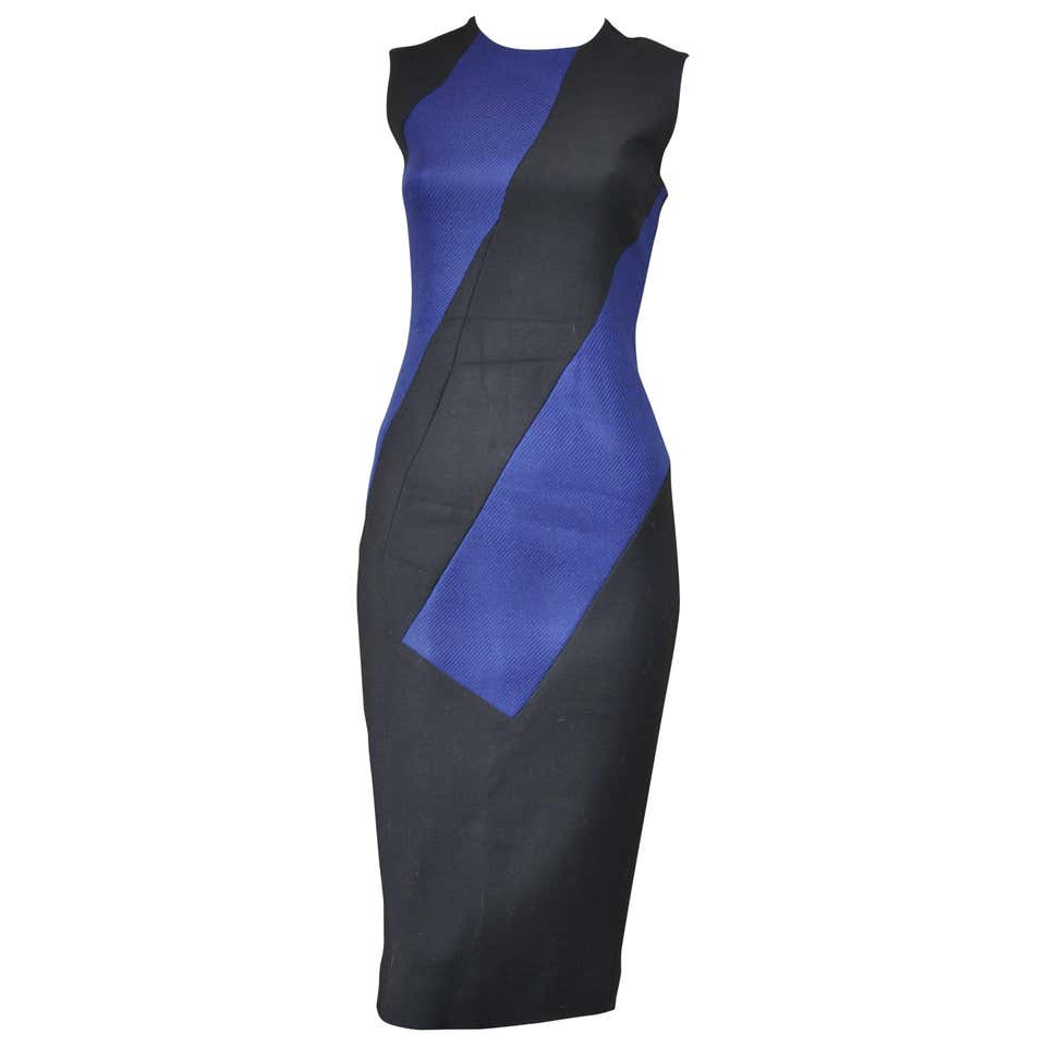 Roksanda Black and Blue Colour Block Wool Blend Fitted Dress