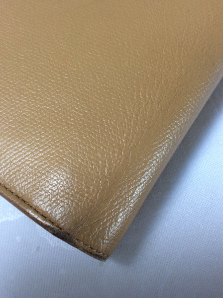 CHANEL Beige 2003-4 Caviar Leather Coco Button Bifold Wallet