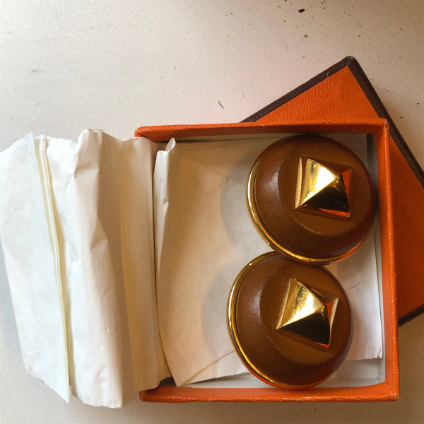 Hermes Medor Bronze Leather & Gold Tone Pyramid Stud Clip Earrings in Box
