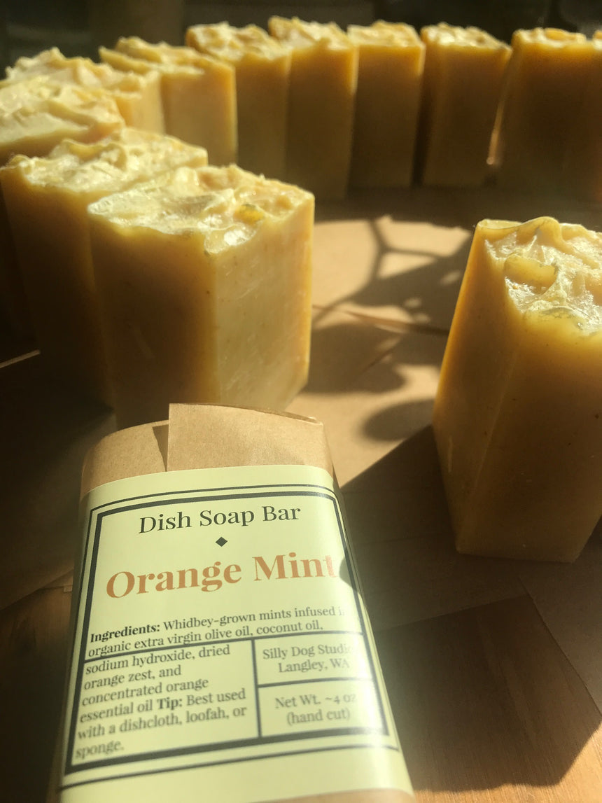 Orange Mint dish soap bar