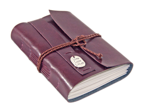 Faux Leather Journal with Blank Paper, Burgundy Wrap Journal,  Live Love Laugh Charm, Life Diary, Yoga Journal, Easter, Graduation Gift