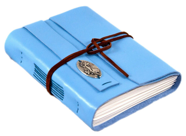Leather Journal with Blank Paper, Light Blue Bird Lovers Notebook, Diary, Valentine's Day Gift, Christian journal, Handmade Leather