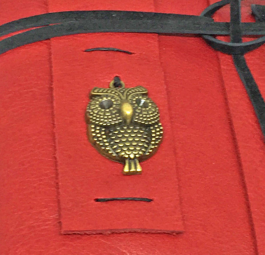 Leather Journal with Lined Pages , Bookmark , Brass Owl Charm , Red Prayer Journal , Valentine's Day Gift , Music , Gift for Her , Guestbook