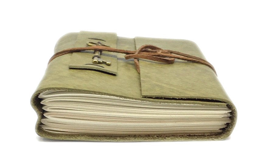 Leather Journal with Blank Paper, Green Writing Journal, Key Charm, Sketchbook, Travel Diary, Graduation Gift, Ready to Ship