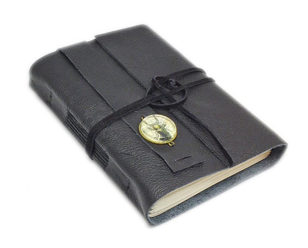 Black Leather Journal with Blank Paper, Steampunk Cameo, Bookmark, Notebook, Nature Journal, Quality leather, Ready to Ship, Travel Journal