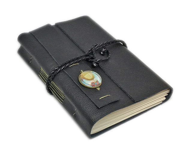Black Leather Journal with Blank Paper, Bookmark, Hot Air Balloon, Journal, Steampunk Cameo, Quality leather, Ready to Ship, Travel Journal