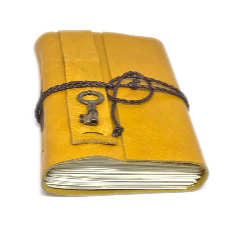 Leather Journal with Blank Paper, Golden Yellow Journal, Vintage Key , Travel Diary, Handcrafted , Bound Notebook, Birthday Gift