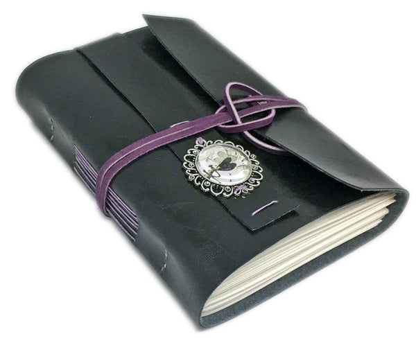 Faux Leather Journal with Blank Pages, Handmade Black Notebook, Dragonfly Cameo Bookmark, PrayerJournal.