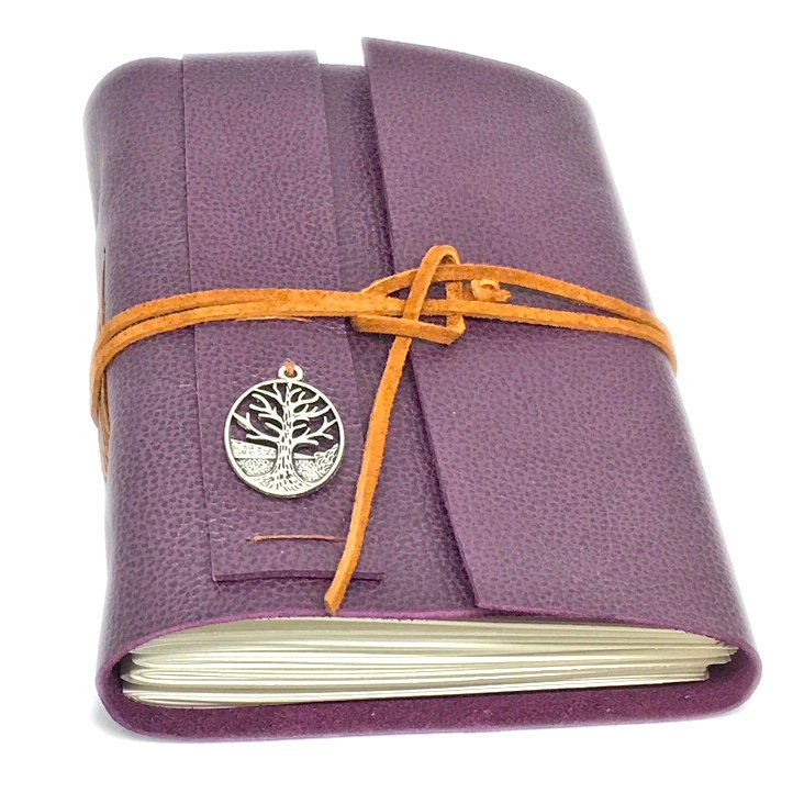 Leather Journal with Blank Paper, Tree of Life,  Purple Leather Journal, Travel Journal, Notebook, Vintage, Sketchbook, Prayer Journal