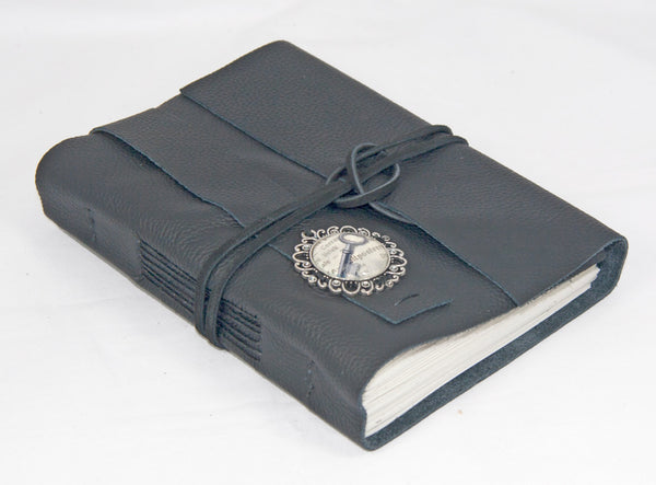 Black Leather Journal with Cameo and Bookmark - BoundByHand