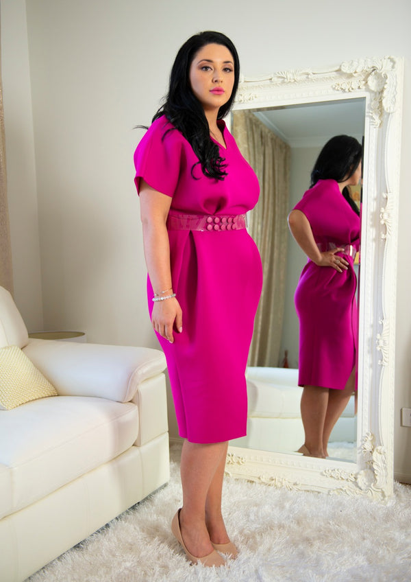 Georgia Hot Pink Scuba Dress