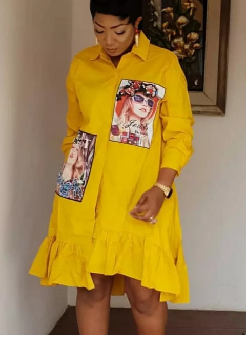 Beaded Shirt Dress- Yellow