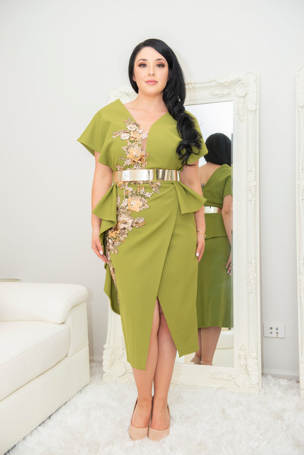 Mona Embroidered Lime Green Evening Dress