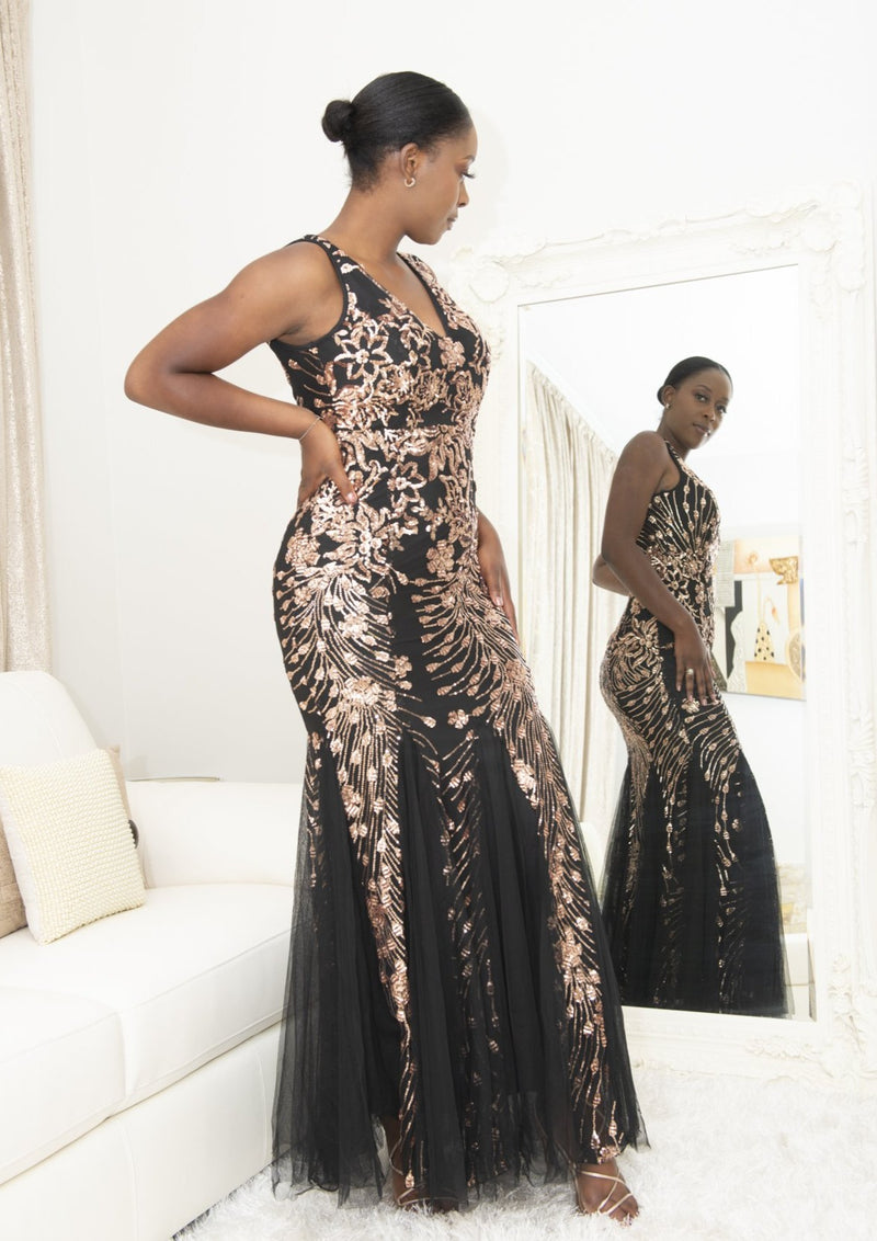 Sonia Sparkly Mermaid Black Evening Dress